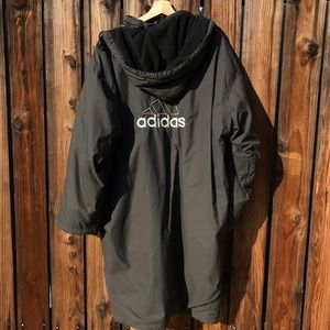 Vintage Adidas Trench Coat/ Winter Jacket 90s BLK